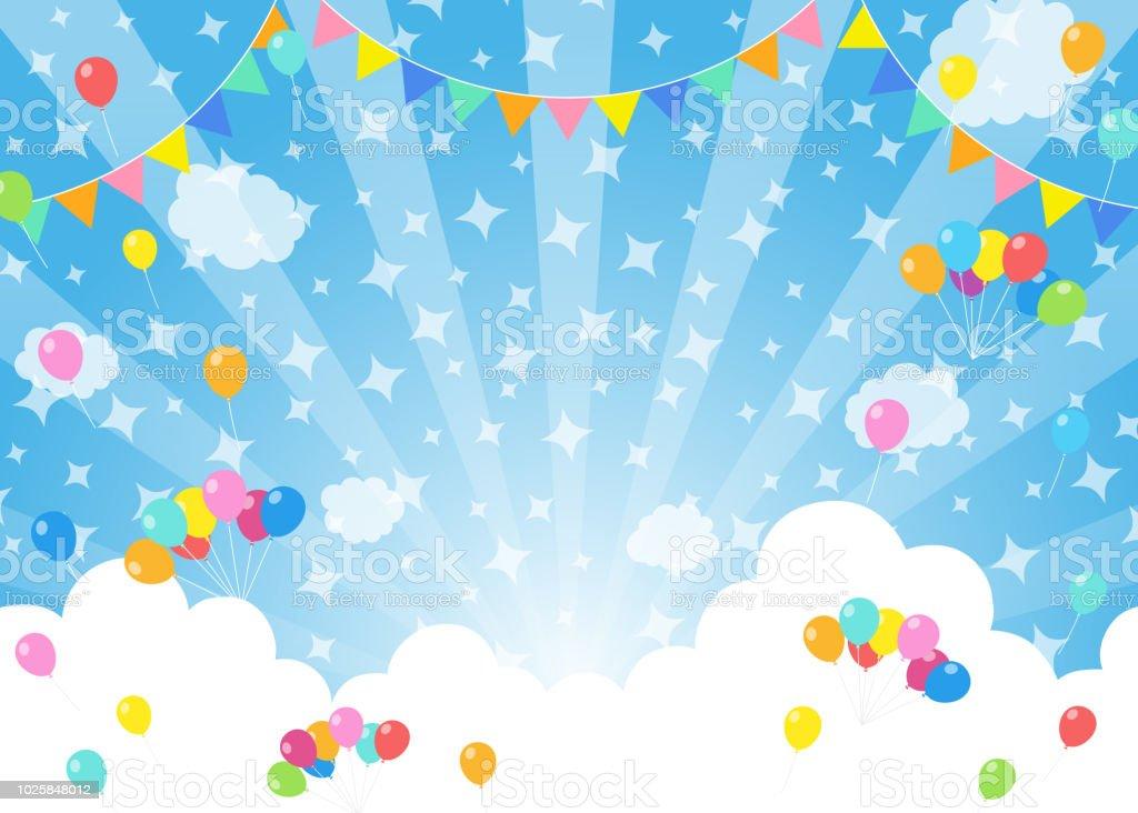 Ballonnen in blauwe hemel - Festival - Royalty-free Achtergrond - Thema vectorkunst