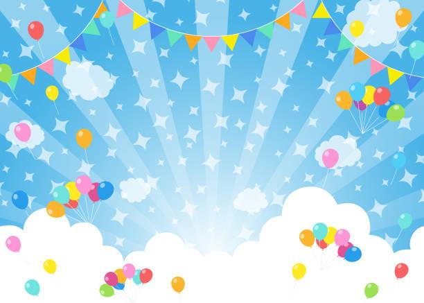 bildbanksillustrationer, clip art samt tecknat material och ikoner med ballonger i blå himmel - festival - traditionell festival