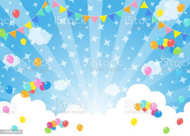 Ballonnen In Blauwe Hemel Festival Stockvectorkunst en meer beelden van Achtergrond - Thema