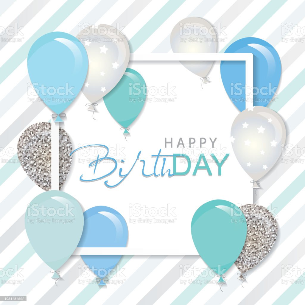 Paper Cut Out Blue Balloons First Birthday Decoration: Balloons In Paper Cut Out Square Frame Birthday And Boy