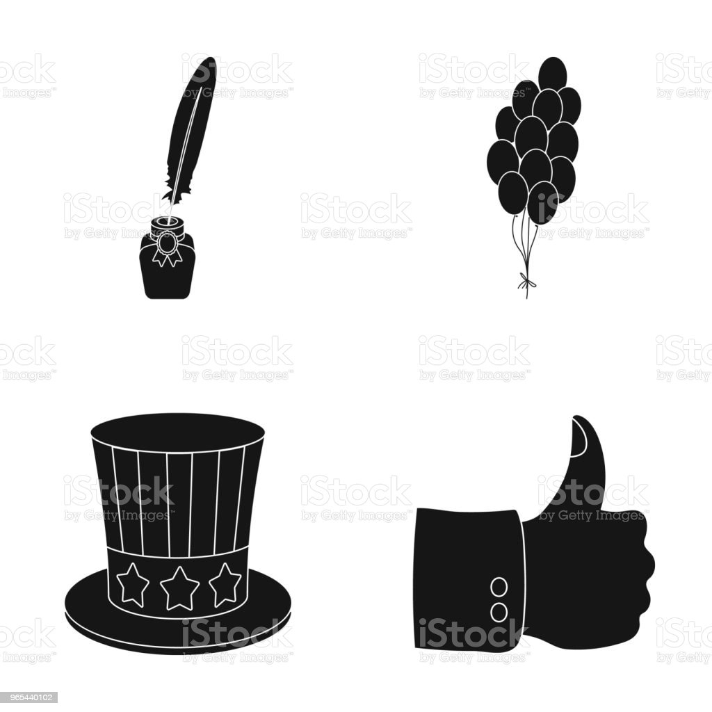 Balloons, inkwell with a pen, Uncle Sam hat. The patriot day set collection icons in black style vector symbol stock illustration web. royalty-free balloons inkwell with a pen uncle sam hat the patriot day set collection icons in black style vector symbol stock illustration web stock vector art & more images of celebration