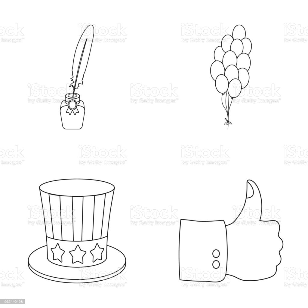 Balloons, inkwell with a pen, Uncle Sam hat. The patriot day set collection icons in outline style vector symbol stock illustration web. balloons inkwell with a pen uncle sam hat the patriot day set collection icons in outline style vector symbol stock illustration web - stockowe grafiki wektorowe i więcej obrazów dzień royalty-free