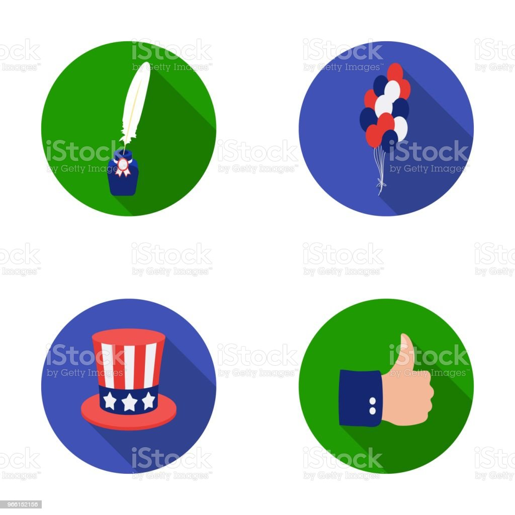 Balloons, inkwell with a pen, Uncle Sam hat. The patriot day set collection icons in flat style vector symbol stock illustration web. - Royalty-free Assinar arte vetorial