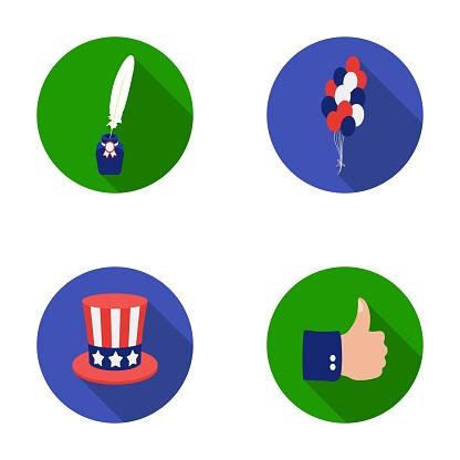 Ballonger Bläckhorn Med En Penna Uncle Sam Hatt Patriot Dagen Ställa Samling Ikoner I Platt Stil Vektor Symbol Stock Illustration Web-vektorgrafik och fler bilder på Bläckhorn