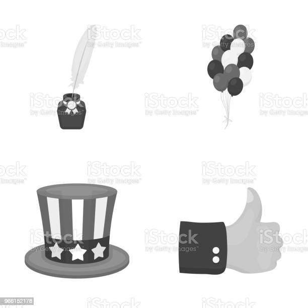 Palloncini Calamaio Con Una Penna Cappello Zio Sam Il Patriot Day Imposta Le Icone Della Collezione In Stile Monocromatico Simbolo Vettoriale Illustrazione Stock Web - Immagini vettoriali stock e altre immagini di Calamaio