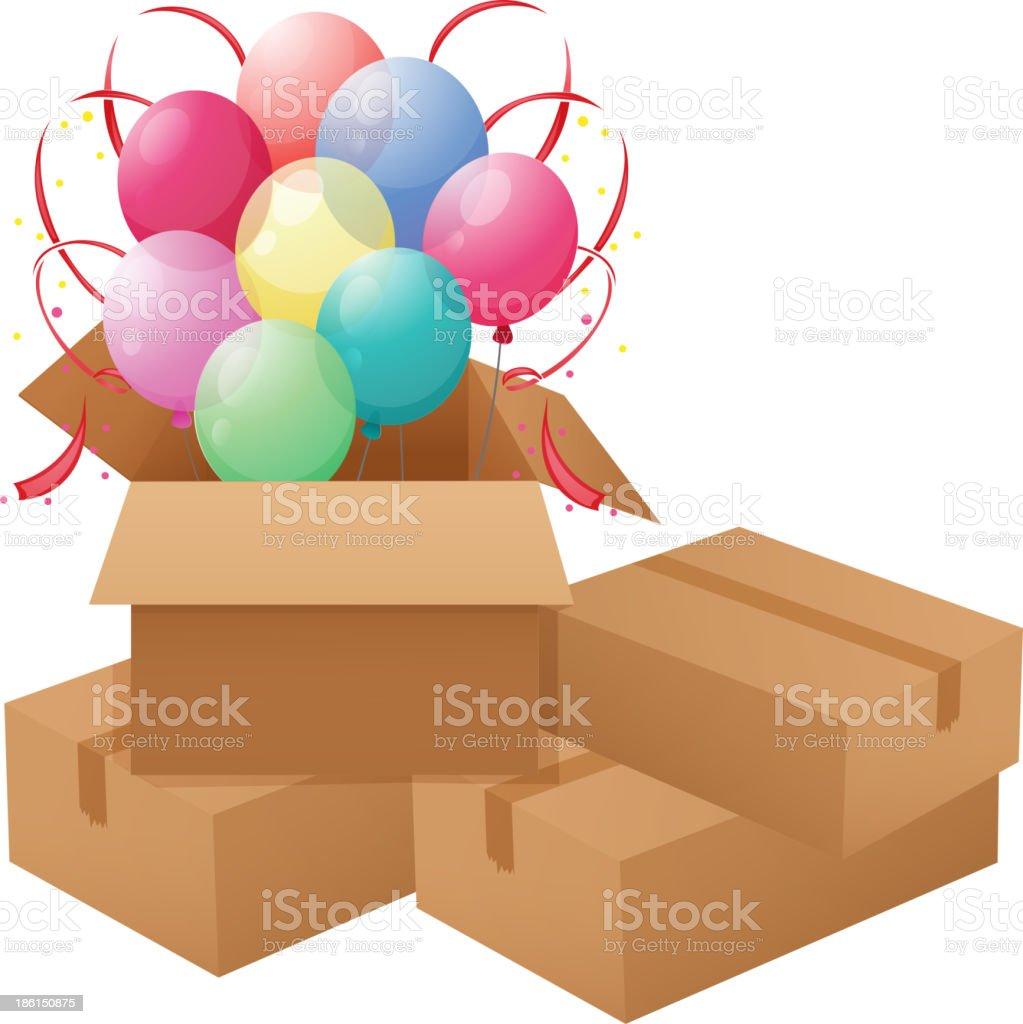 Balloons inside the box royalty-free stock vector art