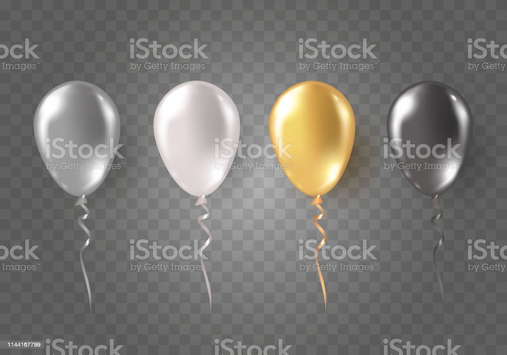 Balloons isolated on transparent background. Glossy gold, silver,...
