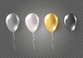 Balloons isolated on transparent background. Glossy gold, silver, black, white festive 3d helium ballons. Vector realistic translucent golden baloons mockup for anniversary, birthday party design