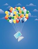 Balloons lifting computer illustration concept