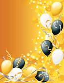 White, Black, and Gold Balloons on a glowing gold background. Zip includes a hi-res jpeg.