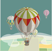 hot air balloons over fields- isometric