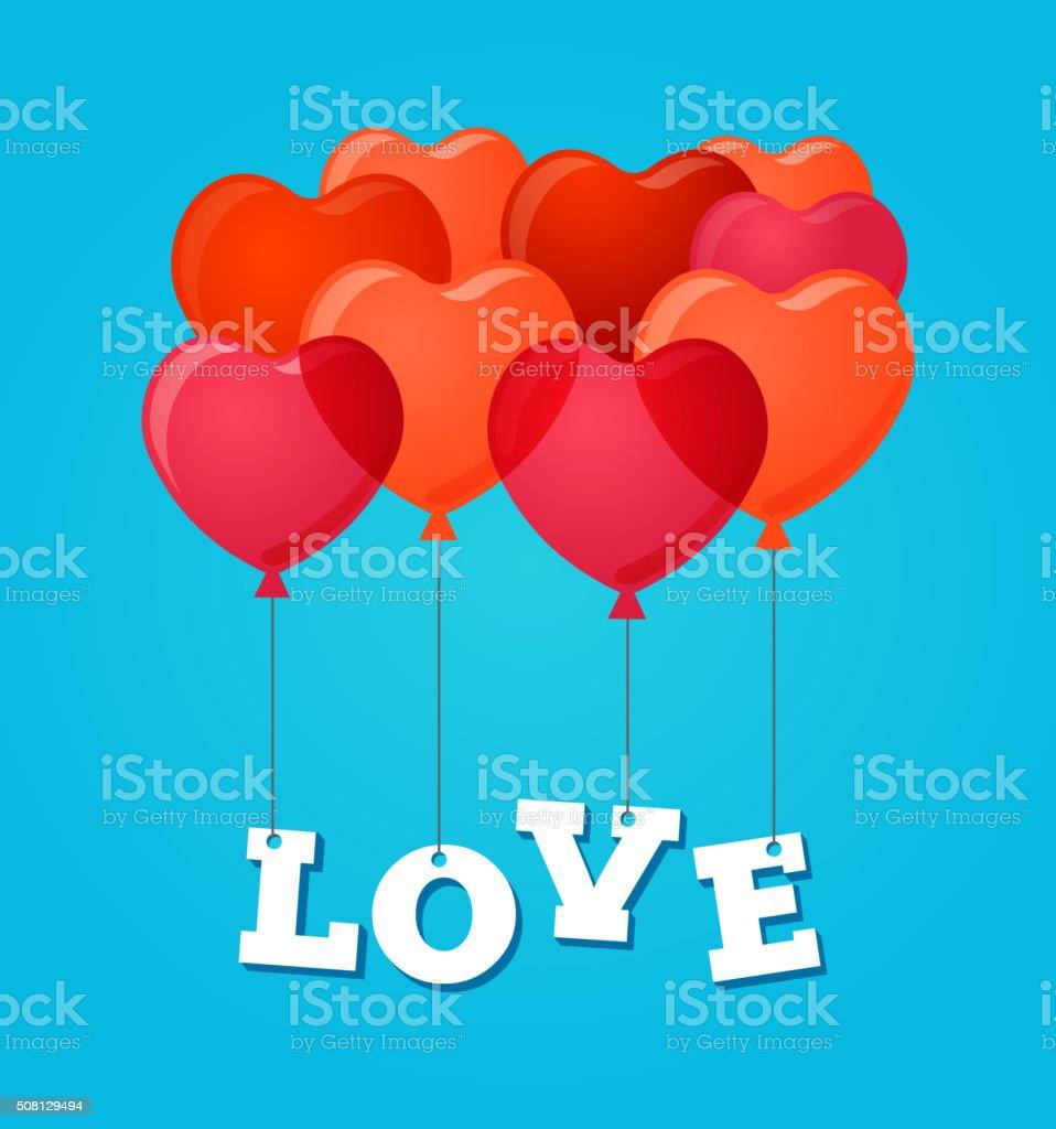 Fete Ballons Joyeux Anniversaire Ou Saint Valentin Carte Cliparts