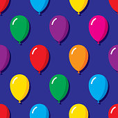 Vector illustration of multi-colored balloons in a repeating pattern against a blue background.
