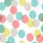 Colored balloons seamless pattern on white background. EPS10 file with transparency.