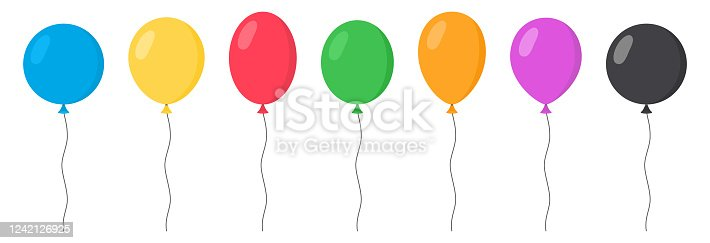 Balloons Set - Cartoon Flat Style. Isolated on White. Vector