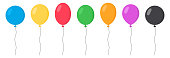 Balloons Set - Cartoon Flat Style. Isolated on White. Vector
