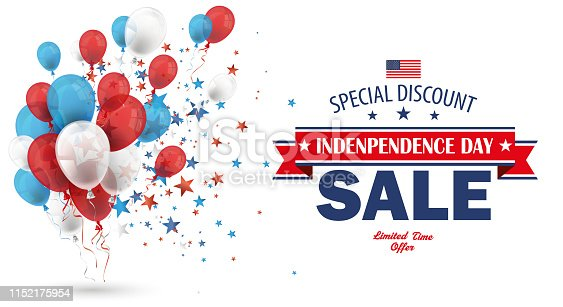 Balloons and stars with the text Independence Day Sale on the white background. Eps 10 vector file.