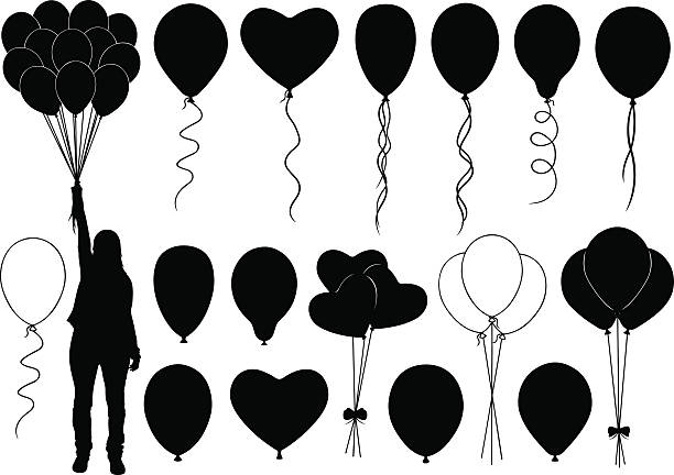 Balloons Set of different balloons isolated anniversary clipart stock illustrations
