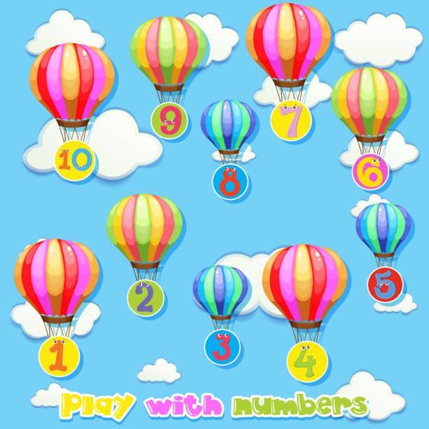 illustrations, cliparts, dessins animés et icônes de ballons avec le nombre dans le ciel - nuage 6