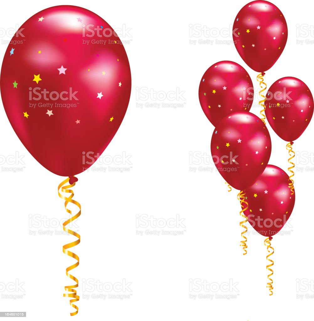 Balloons with stars and ribbons. royalty-free stock vector art