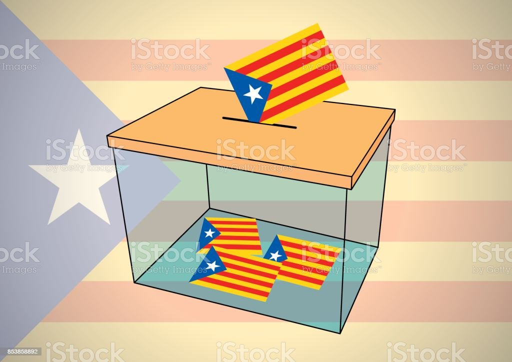 ballot box for catalonia referendum with some votes of independentist catalonian flags vector art illustration