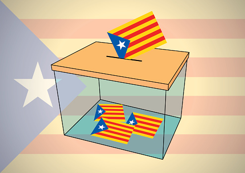 Ballot Box For Catalonia Referendum With Some Votes Of Independentist Catalonian Flags — стоковая векторная графика и другие изображения на тему Catalan Independence Movement