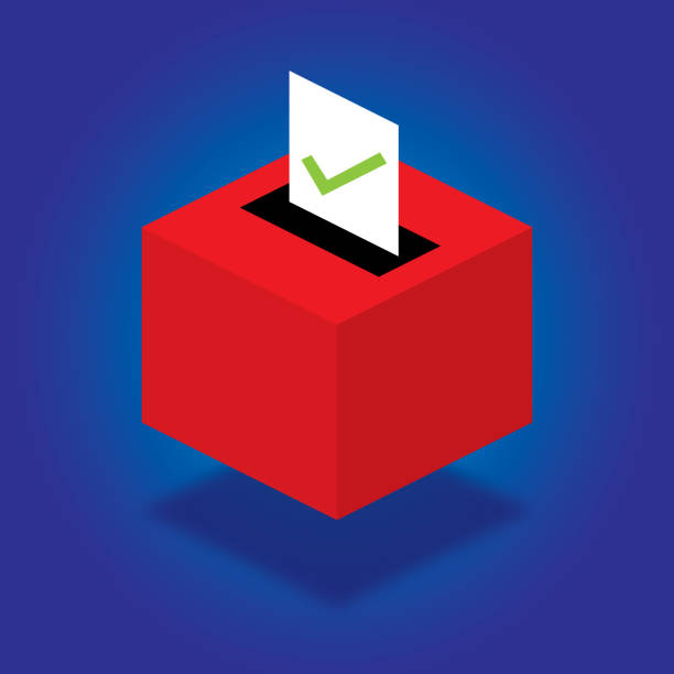 Ballot Box Isometric Vector illustration of a red ballot box with check marked piece of paper against a blue background. presidential candidate stock illustrations