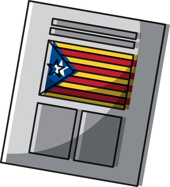 ballot used for catalonia referendum of independence - lleida stock illustrations