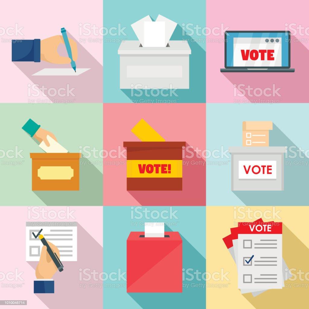 Ballot voting box vote icons set, flat style vector art illustration