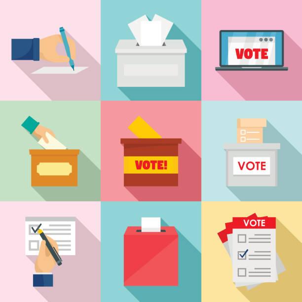 Ballot voting box vote icons set, flat style Ballot voting box vote polling icons set. Flat illustration of 9 ballot voting box vote polling vector icons for web voting stock illustrations