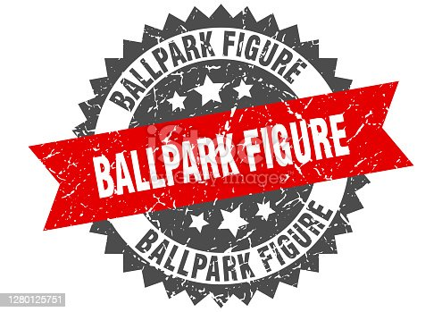 istock ballpark figure stamp. grunge round sign with ribbon 1280125751