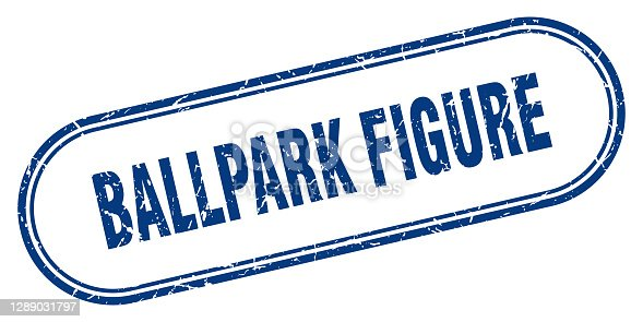 istock ballpark figure stamp. rounded grunge textured sign. Label 1289031797