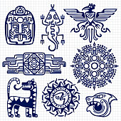 Ballpoint pen american aztec, mayan culture native totems on notebook background