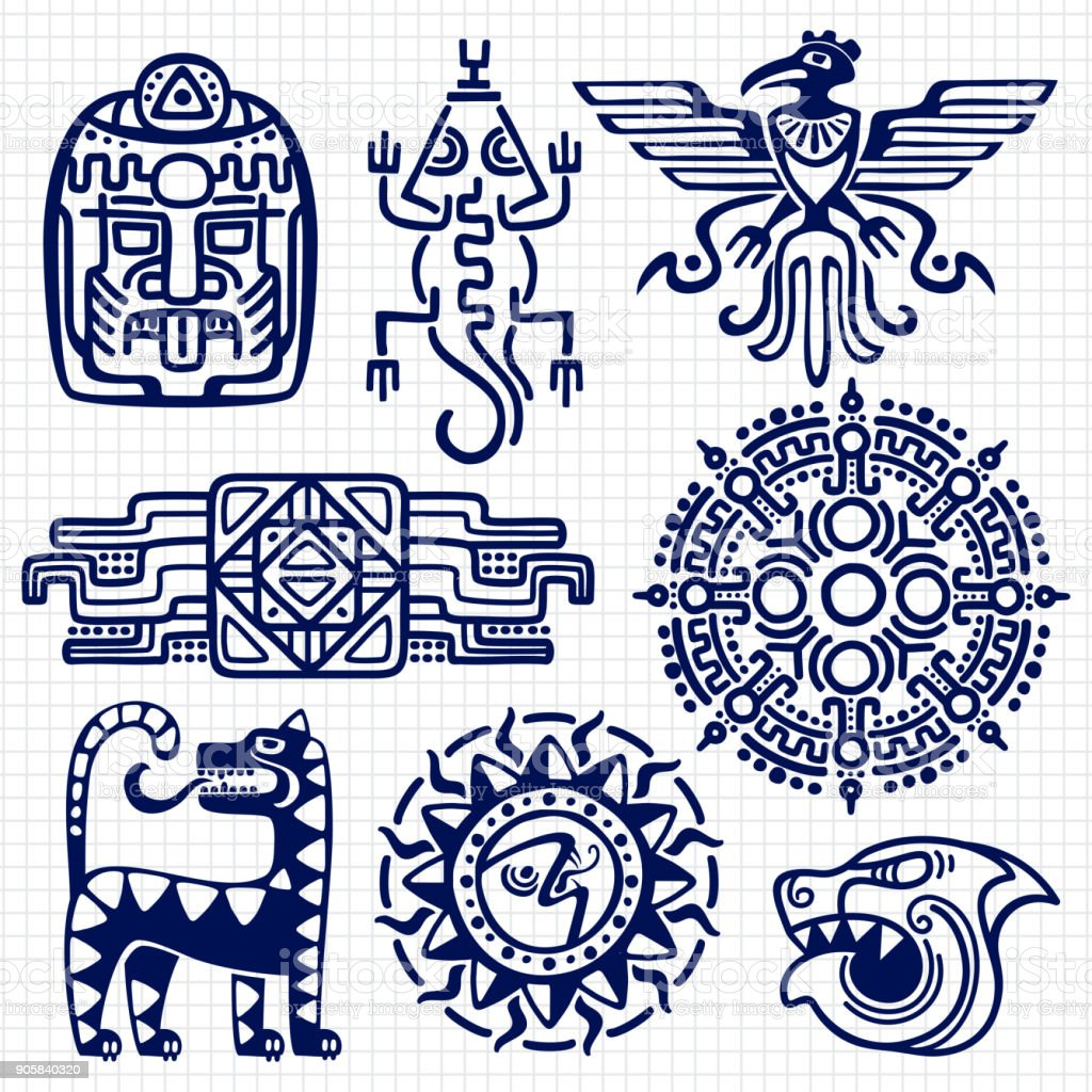 Ballpoint pen american aztec, mayan culture native totems on notebook background vector art illustration