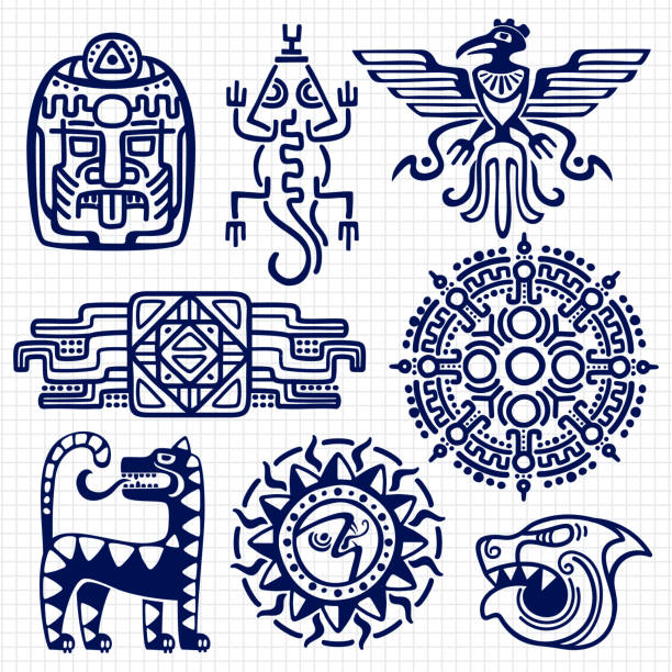 ballpoint pen american aztec, mayan culture native totems on notebook background - tribal tattoos stock illustrations, clip art, cartoons, & icons