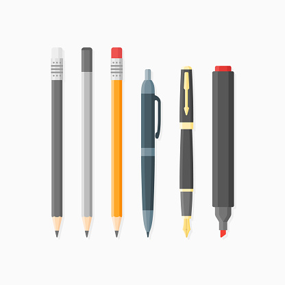 Ballpoint pen, nib, pencils and marker isolated on white background.