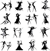 Icon set of dancing couples in representative ballroom and Latin dance styles. Two colours used are easily changed.
