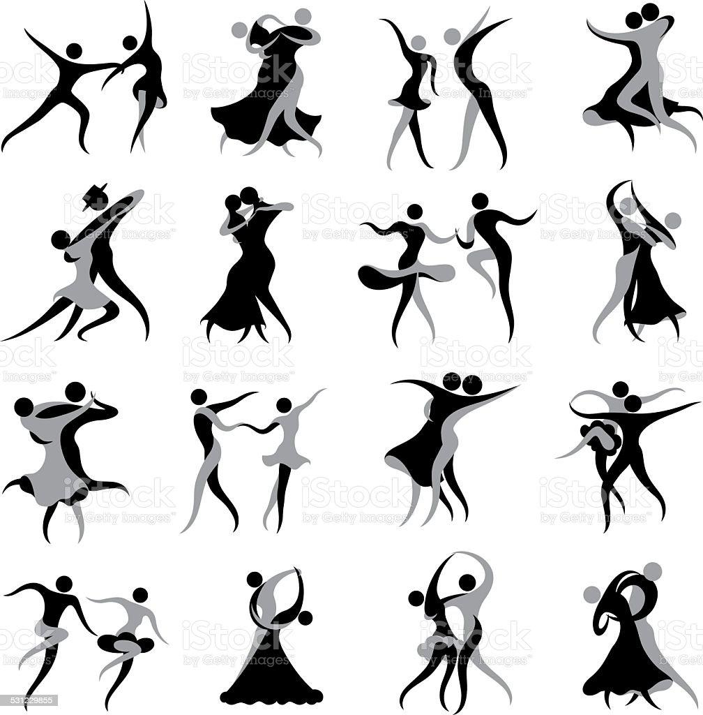 Ballroom and Latin Dancing Symbols vector art illustration