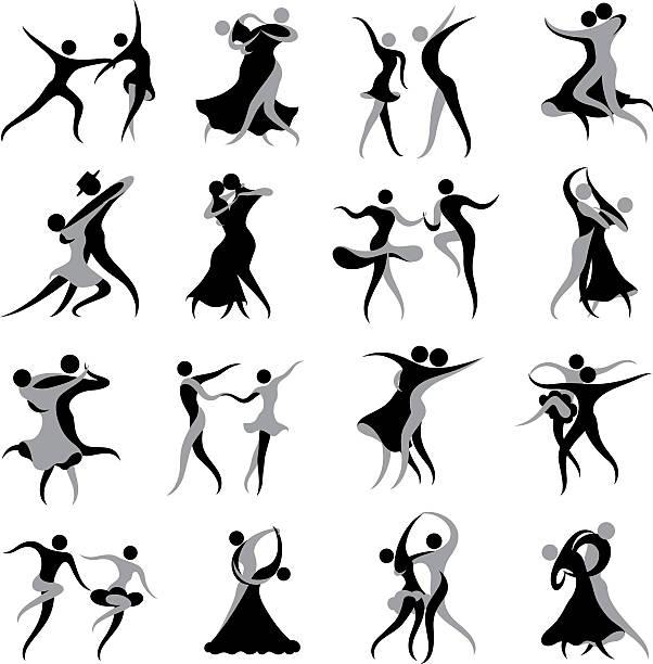 ballsaal und lateinamerikanischen tanz symbole - ballsäle stock-grafiken, -clipart, -cartoons und -symbole