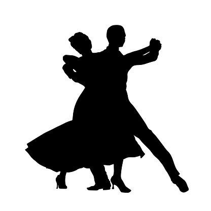 ballroom dance couple man and woman black silhouette