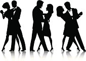 Vector art of silhouettes of three couples dancing.