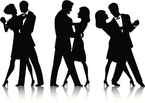 silhouettes de danse de la salle de bal - Illustration vectorielle