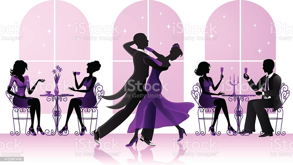 Ballroom dancers in the restaurant vector art illustration