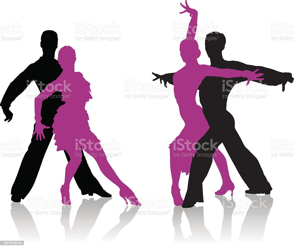 Ballroom dancers silhouettes vector art illustration