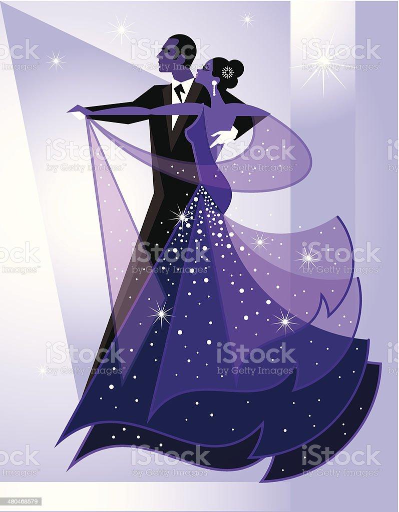 Ballroom Dancers vector art illustration