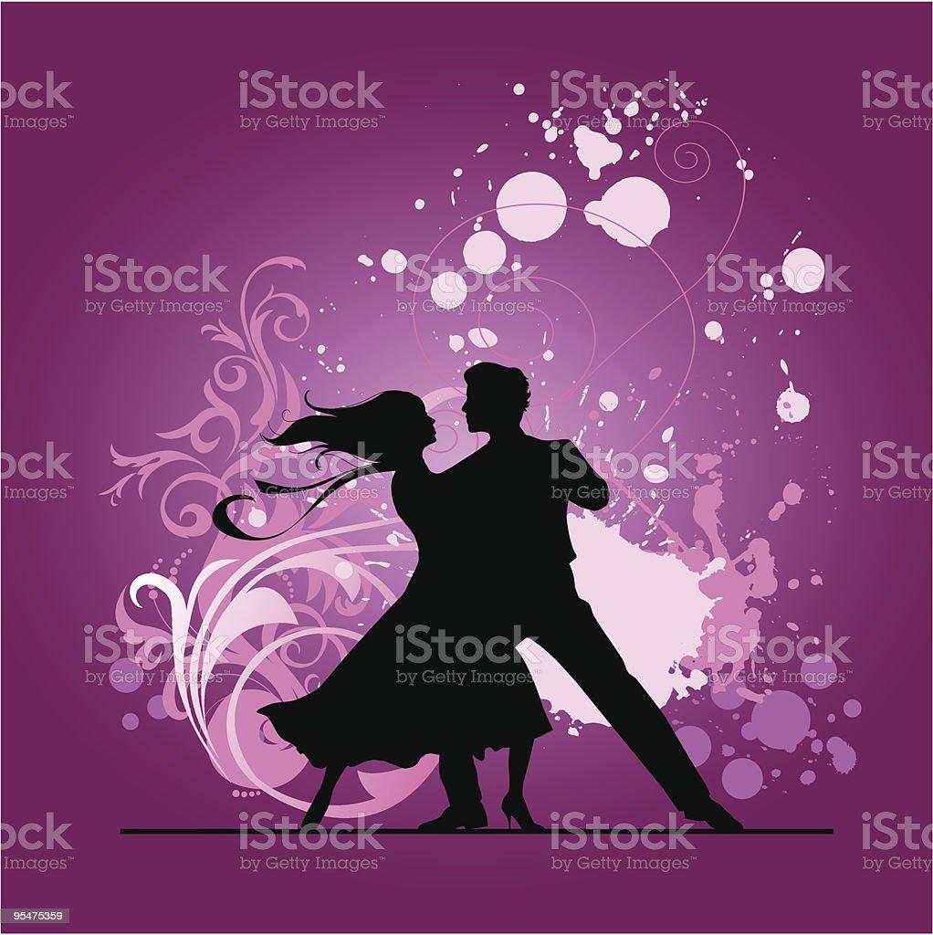Ballroom dancers. vector art illustration