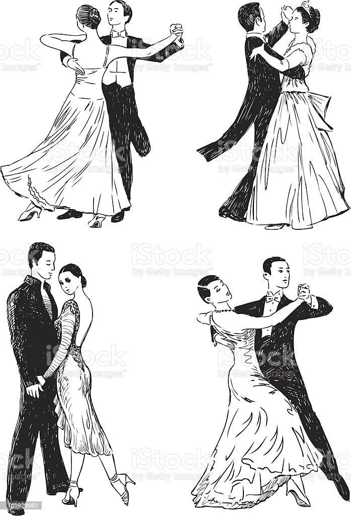 ballroom dances vector art illustration
