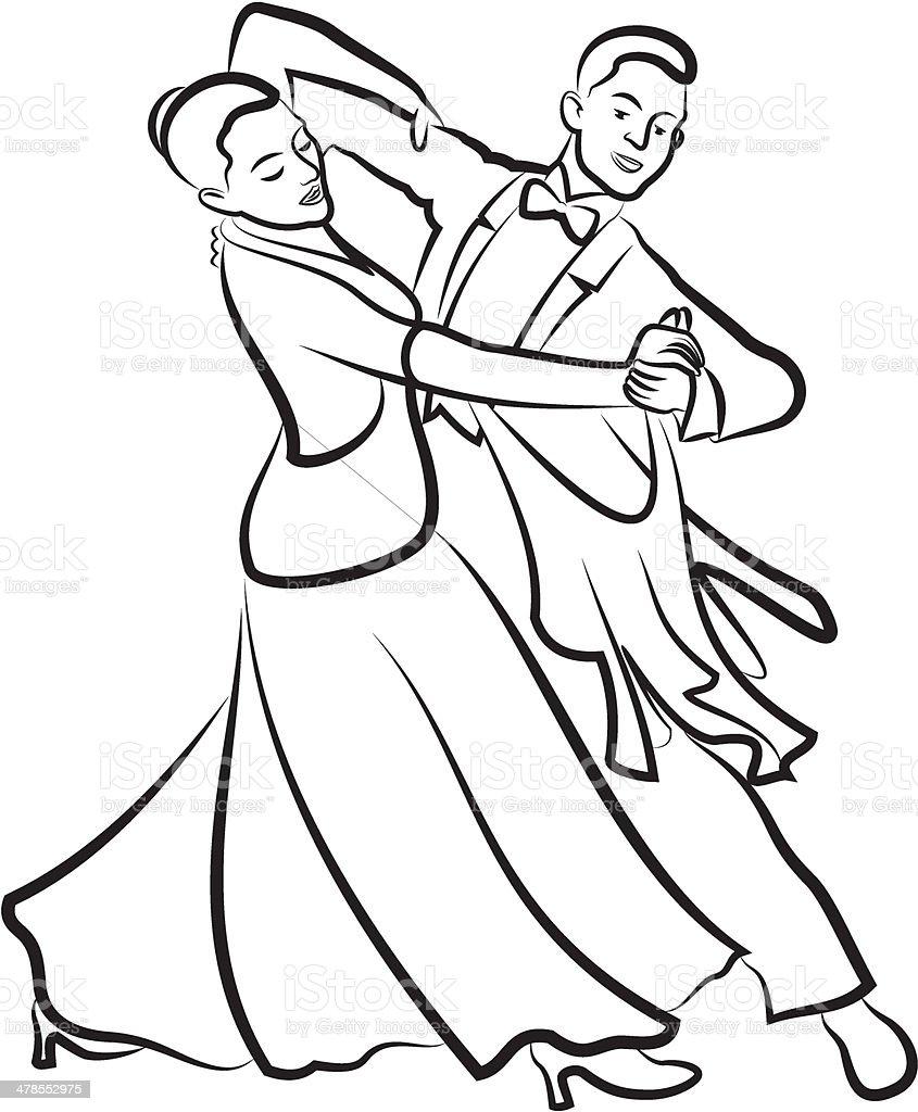 ballroom dancing, dancing couple vector art illustration