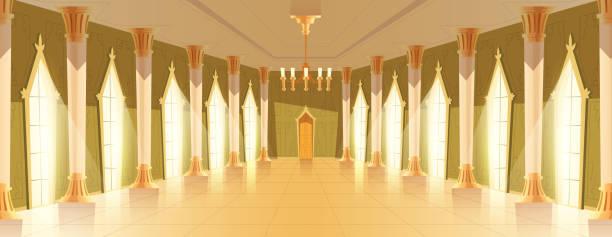 ballsaal-halle mit kronleuchter-vektor-illustration - ballsäle stock-grafiken, -clipart, -cartoons und -symbole
