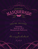 Vector illustration of a Ballroom Masquerade invitation template. Includes design elements and text sample design. Download includes Illustrator 10 eps with transparencies, high resolution jpg and png file.